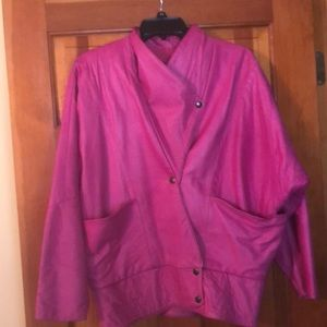 Fuchsia leather jacket. Vintage!